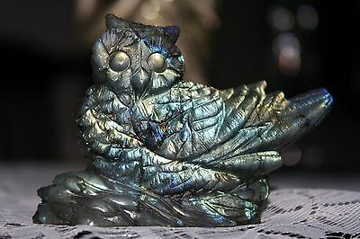 Spectacular Labradorite Carving a Wise Owl  - reduced for quick sale
