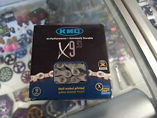 "KMC X9.93----9--27 SPEED 1/2"" X 11/128"" MTB-ROAD NICKEL PLATED BICYCLE CHAIN"