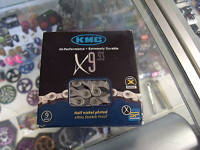 """KMC X9.93-9-24 SPEED 1//2/"""" X 11//128/"""" SHIMANO MTB-ROAD NICKEL PLATED CHAINS-1 PAIR"""