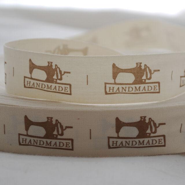 Printed Cotton Ribbon Sewing Label - Handmade - Sewing Machine