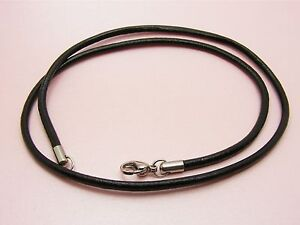 Custom-Made-STAINLESS-STEEL-Genuine-2-5mm-LEATHER-Cord-NECKLACE-61cm-24-LONG