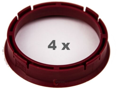 4 Stück Zentrierringe 66.45 mm auf 57.1 mm rot red