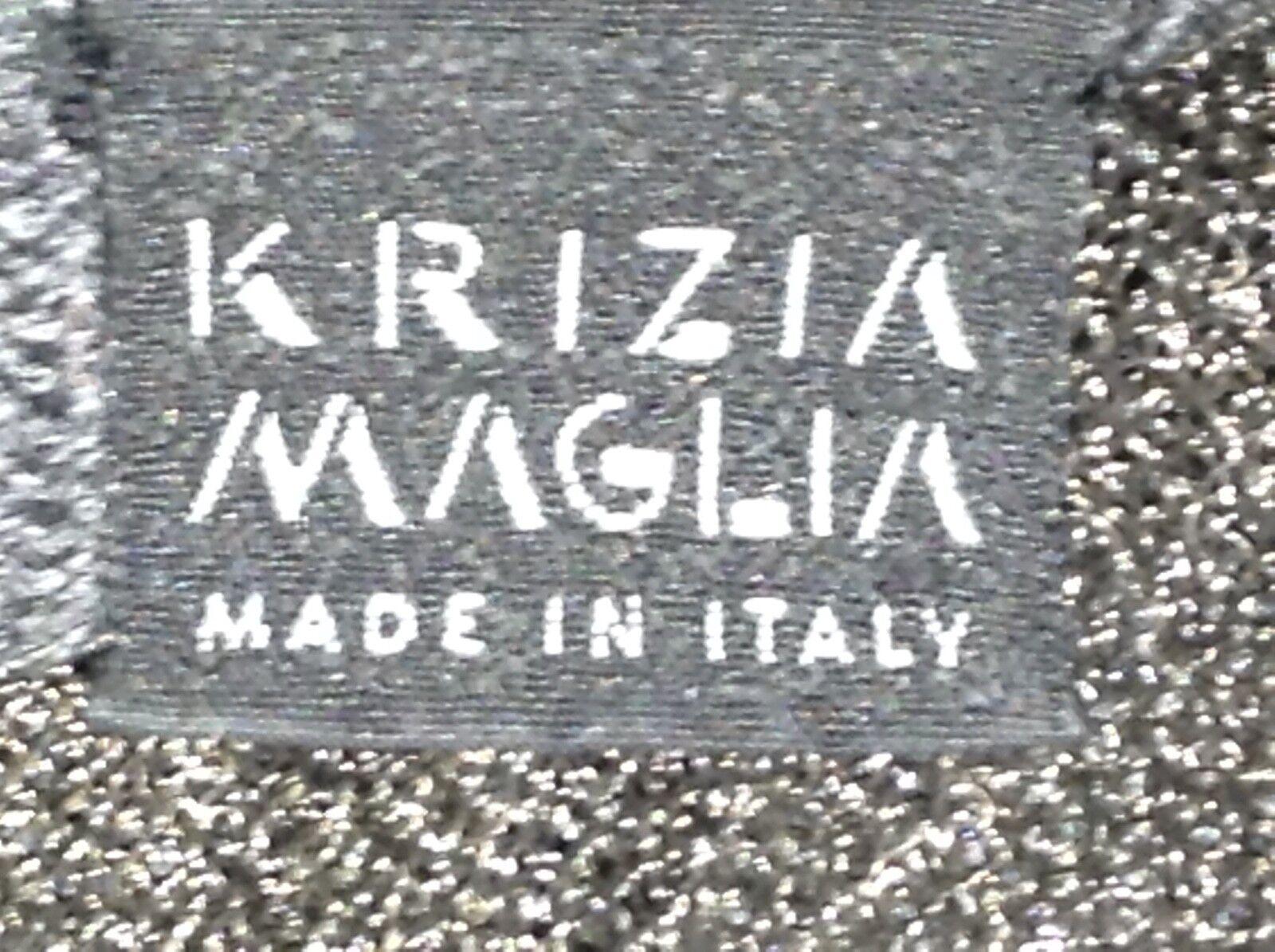 KRIZIA Maglia Grigio Lana Lavorato Lavorato Lavorato a Maglia in pizzo POLO CON COLLETTO MANICA CORTA TOP TAGLIA ITALIANA 44 706b24