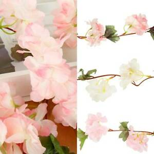2-3M-Flowers-Artificial-Cherry-Blossoms-Leaf-Garland-Vine-Ivy-Home-Wedding-Decor