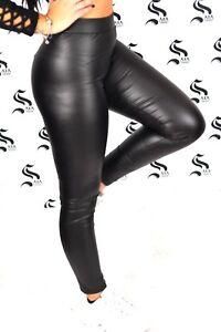 654f40000bf234 Caricamento dell'immagine in corso PANTALONI-Leggings-donna-pantaloni-eco- pelle-PUSH-UP-