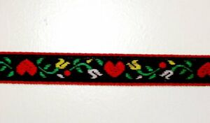 Hearts-and-Flowers-Embroidered-Jacquard-Ribbon-Sewing-Trim-1-2-034-x-50-yds-Black