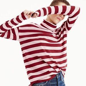 cc0212cecab J Crew Deck-striped turtleneck T-shirt Cotton Oversized Red Pink ...