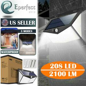 IMPERMEABILE-208-LED-Lampada-Solare-Da-Giardino-Esterno-Cortile-Sensore-PIR-Luce-Muro