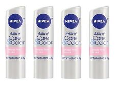 4 Pack Nivea A Kiss of Care Color Lip Care SHEER PINK .17 oz. Made in Germany