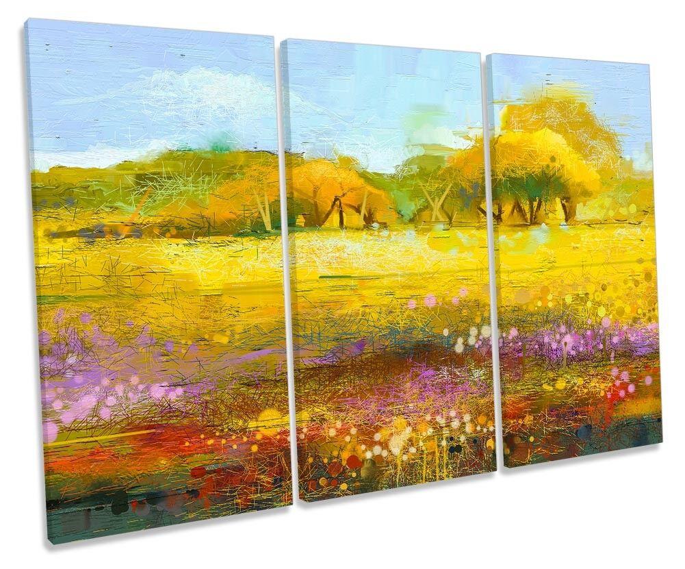 Gelb Abstract Landscape Repro TREBLE TREBLE TREBLE CANVAS WALL ARTWORK Print Art 2f3227