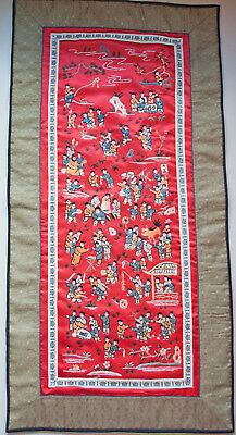 1930's Chinesisch Rot Seide Bestickt Panel 100 Kinder Feier Genießen Leben