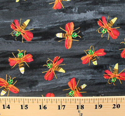 The Very Series Fireflies Flying Black Cotton Fabric Print by the Yard D786.08