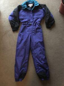 Vintage-Columbia-Snowsuit-Ski-Purple-Black-Turquoise-Women-039-s-Large-L-Excellent