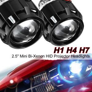 2x-RHD-H1-H4-H7-2-5-039-039-HID-Bi-xenon-Projector-lens-Headlight-Shroud-Retrofit-Kit