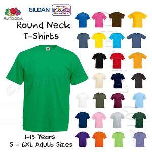 Ninos-Chicos-Chicas-Llano-Camiseta-Camiseta-Edad-1-2-3-4-5-6-7-8-9-10-11-12-13-14-15
