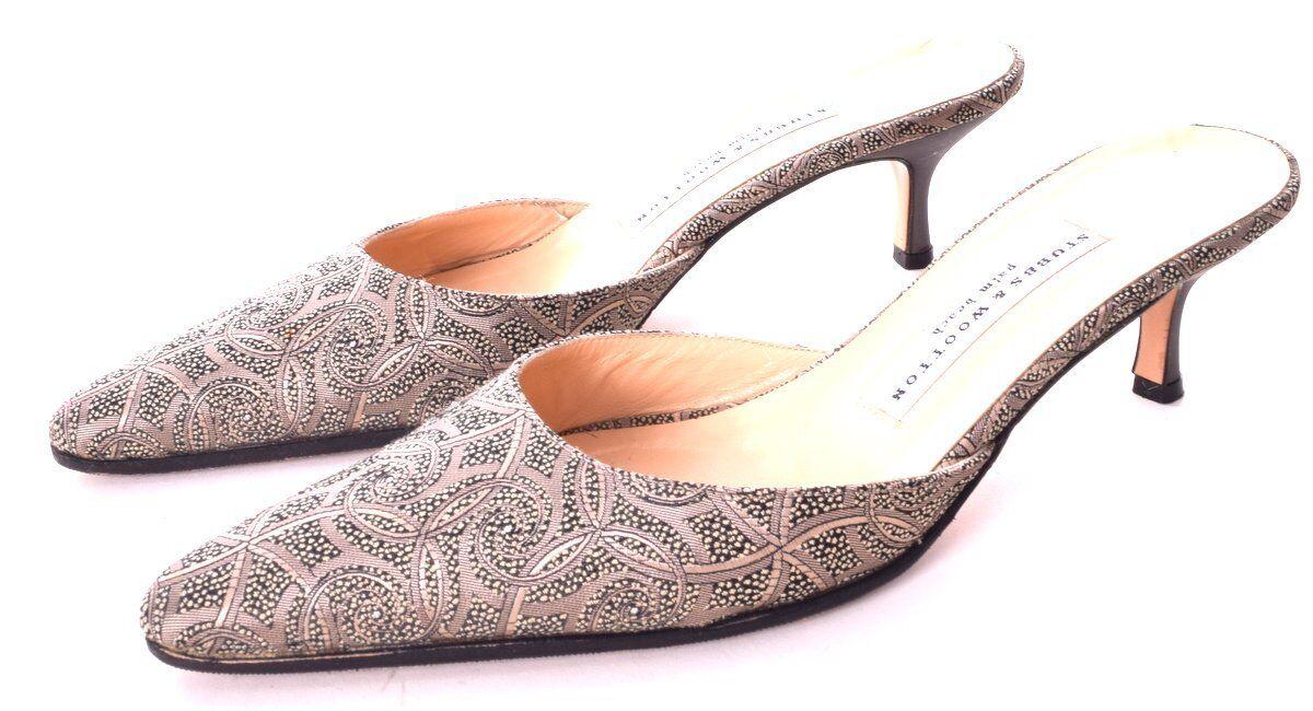 STUBBS & WOOTTON Light Grau & Green Fabric Print  Kitten Heel Slides sIze 7.5