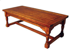 Refectory Table Dark Oak Effect, Dolls House Miniature Kitchen Meal Time 1.12
