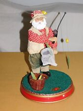 """GEMMY CHRISTMAS TOY  12"""" HIGH MUSICAL SANTA CLAUS IN FISHING OUTFIT"""