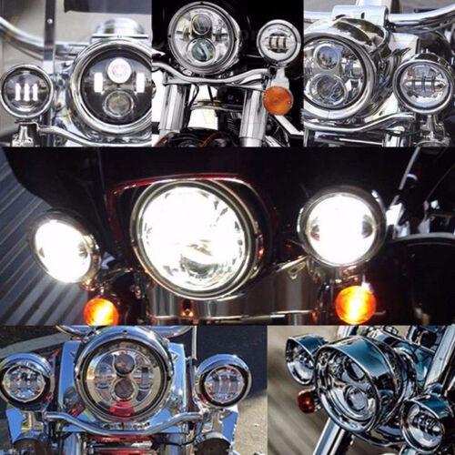 "4-1//2/"" 4.5/"" LED Auxiliary Spot Fog Passing Light White DRL Angel Eyes For Harley"