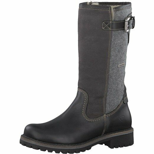 Tamaris Womens 26474 Black Combi Leather Duo-Tex Waterproof  Wool Lined  Boots