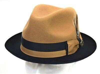 M L XL Men/'s Fedora Dress Hat Camel//Brandy 2-Tone 100/% Wool CA-343 S