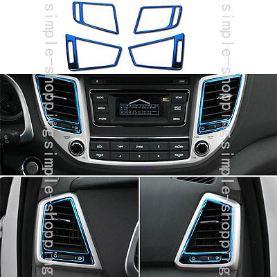 4x Stainless Center + SideAir Outlet Panel Cover Trim For Hyundai Tucson 16-17
