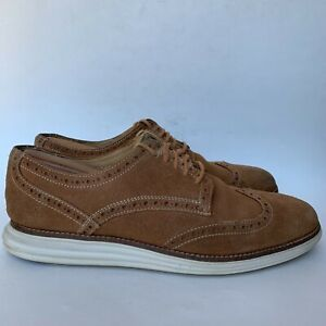 Cole Haan Grand OS Wingtip Oxford Shoes Suede Leather Brown Men's Size 9 M