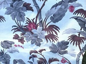 VINTAGE-MID-CENTURY-BARKCLOTH-FLORAL-LEAVES-CURTAINS-PANELS-FOR-CUT-UP-2-PIECES