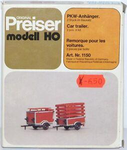 Preiser-H0-1150-Remorque-de-Voiture-2-Piece-Neuf-Emballage-D-039-Origine