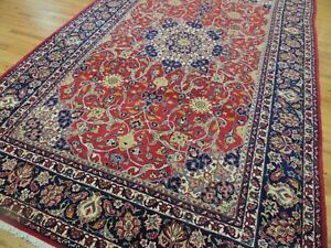 7x11  8x12 9x12 traditional SIGNED Oriental Area Rug Red Blue Wool Medallion