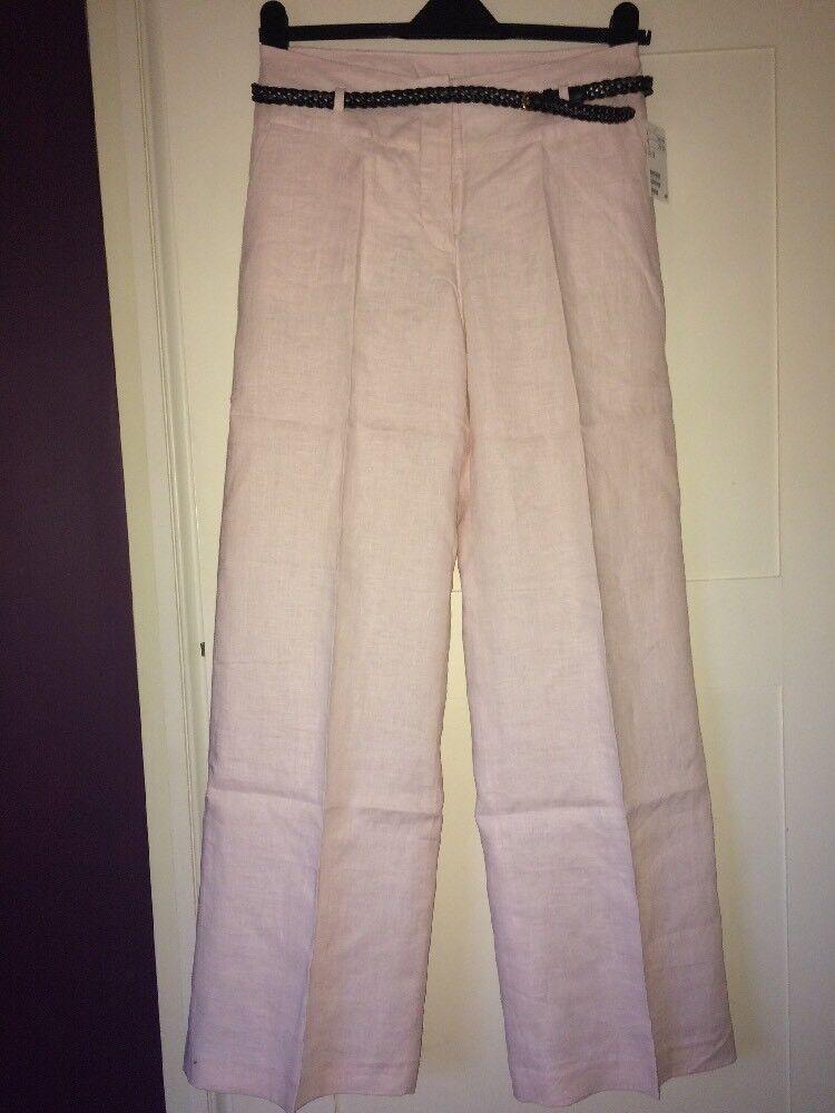 H&m Lin Pantalon Avec Ceinture, Taille 12, 38 Euros, Neuf Avec étiquettes Pure Blancheur
