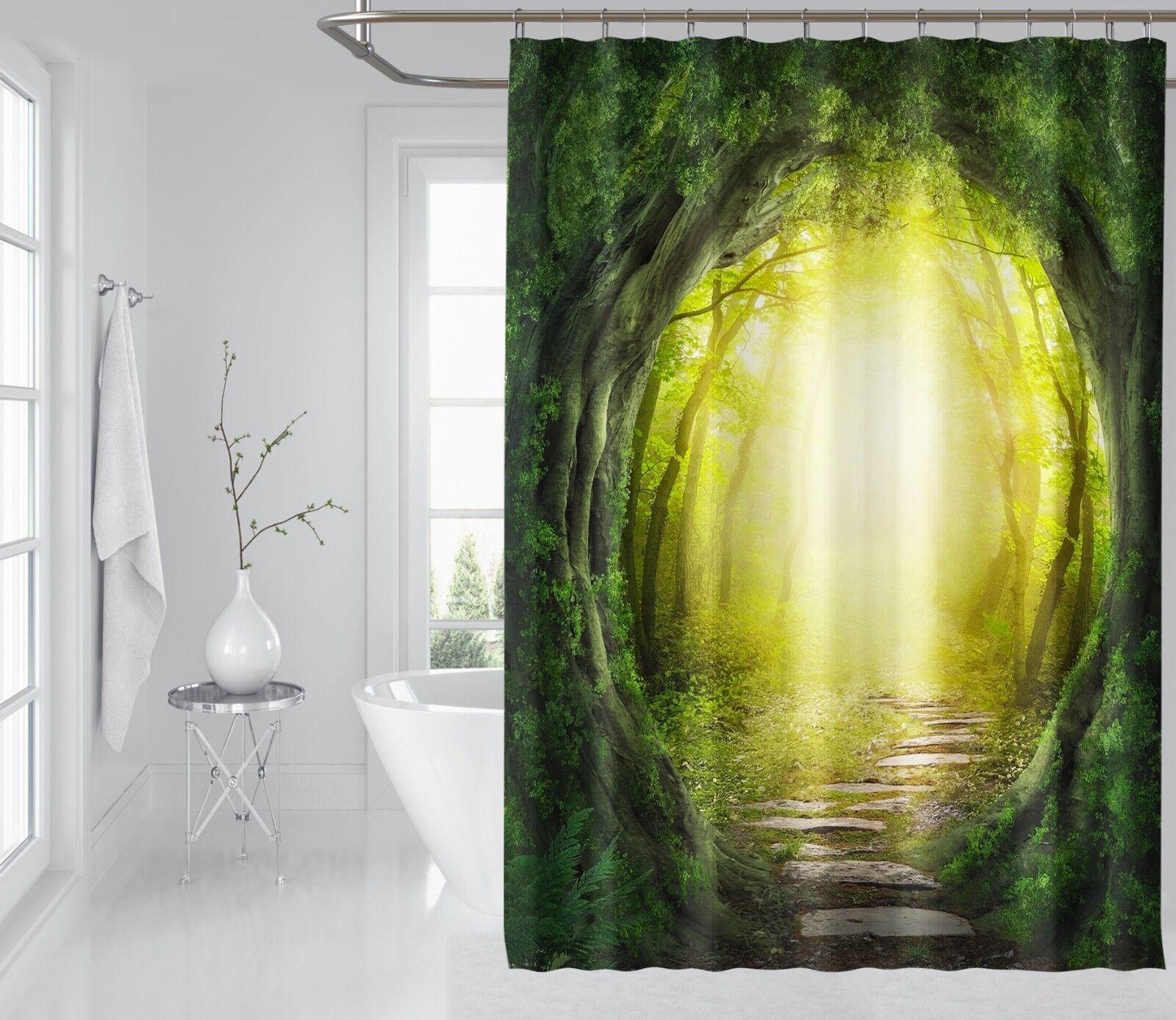3D Tree Cave Door 7 Shower Curtain Waterproof Waterproof Waterproof Fiber Bathroom Home Windows Toilet 221ad4