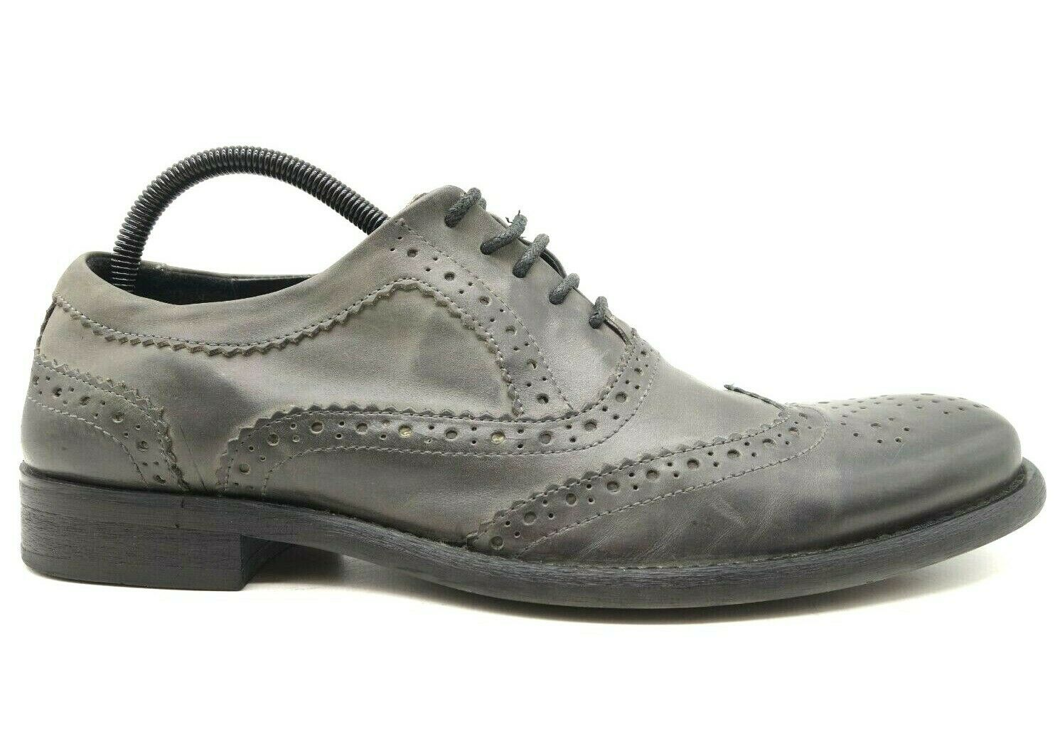 Kenneth Cole Reaction Leading Men Gray Leather Wingtip Oxfords Shoes Men's 11