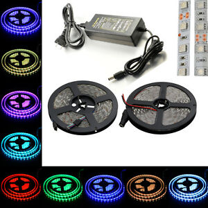 5M-16ft-SMD-5050-300-Led-Strip-Light-RGB-Multi-color-Flexible-Tapes-DC-12V-5A