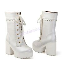 Womens Lace Up High Platform Chunky Heel Mid Calf Gothic Punk Boots Sweet Vogue