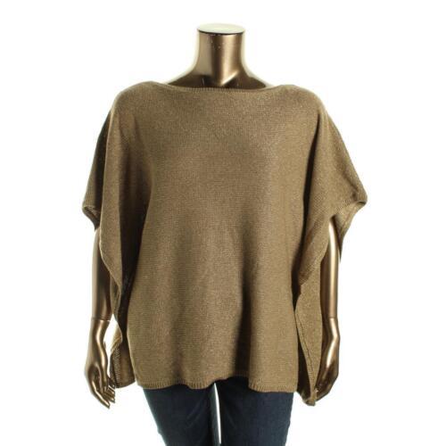 $130 Ralph Lauren Gold Metallic Holiday Sweater Poncho Blouse Top S M L XL XXL P