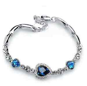 1 Fashion Cute Women Blue Crystal Rhinestone Heart Charm Bangle Bracelet Gift