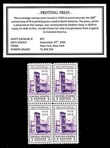 1939-FIRST-PRINTING-PRESS-Block-of-Four-Vintage-U-S-Postage-Stamps