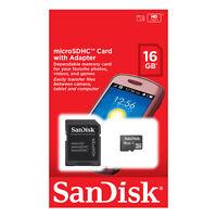 Sandisk Retail 16gb Micro Sd Hc Microsdhc Class 4 Flash Memory Card + Sd Adapter