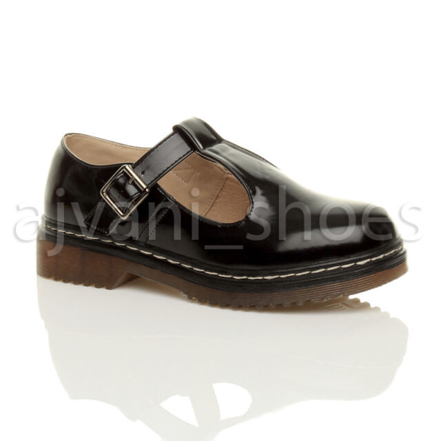 53d2dd2da44 Womens Ladies Flat Low Heel Mary Jane T-bar Geek Buckle Chunky School Shoes  Size UK 7 / EU 40 / US 9 Black Patent