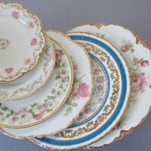 "6 Asst Antique HAVILAND Porcelain Plates 6-10"" PINK Baltimore Rose Swags * AS IS"