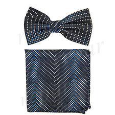 Men's Pre-tied Bow Tie & hankie set Geomatric pattern black blue wedding formal