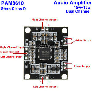 12V Digital PAM8610 2*15W 2x15W Dual Channel Stereo Class D Amplifier Board AM