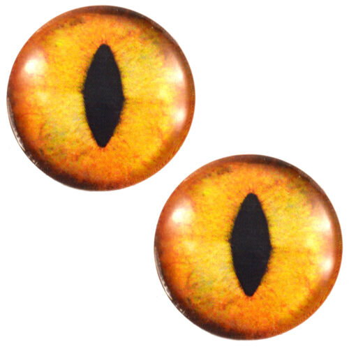 Pair of 30mm Orange Cat Glass Eyes for Jewelry or Taxidermy Doll Making