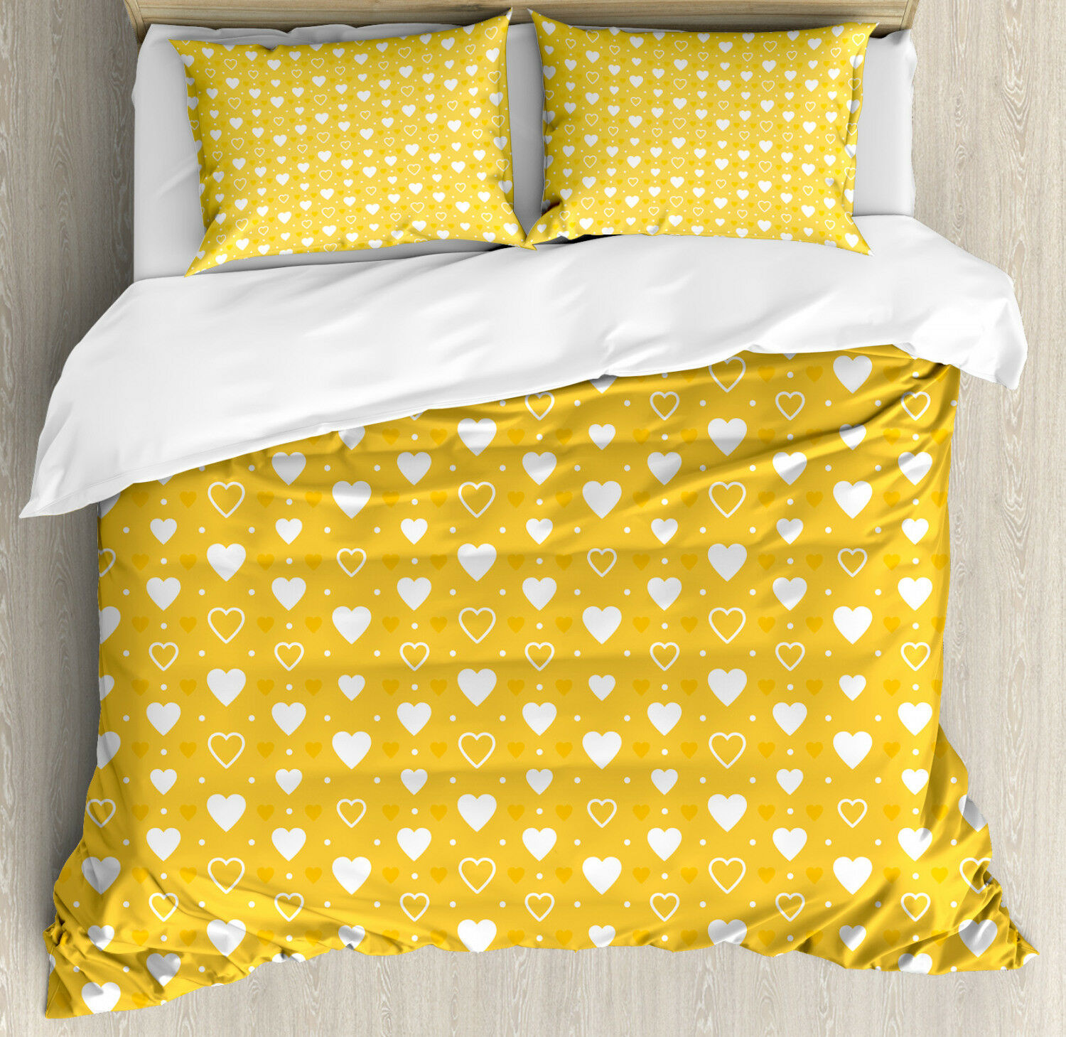 Romantic Duvet Cover Set with Pillow Shams Heart Shapes and Dots Print