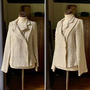 CABI Boucle Cream Textured Knit Jacket Blazer Double Breasted SMALL