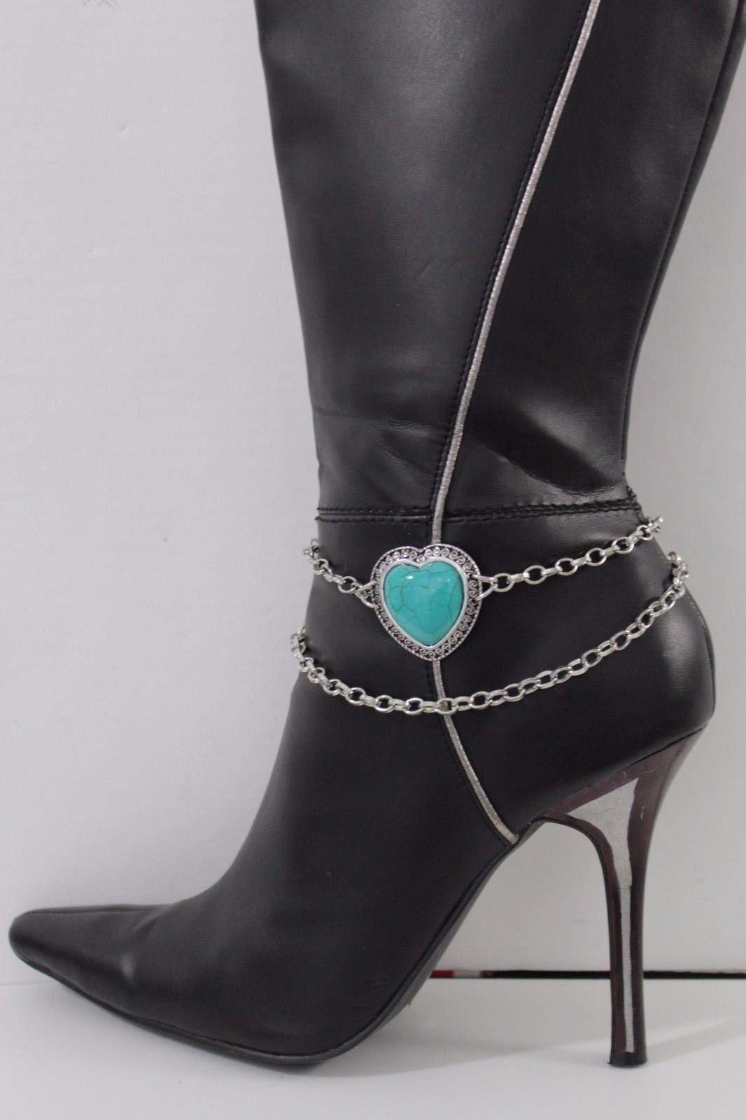 Women Silver Chain Boot Bracelet Anklet Heel Shoe Blue Heart Charm Bling Jewelry