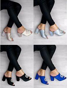 Mujer-Damas-Tacon-Bajo-Peep-Toe-Sin-Talon-abierto-atras-Resbalon-En-Sandalias-Zapatos-Talla