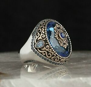 Men/'s Ring 925 Sterling Silver Turkish Handmade Jewelry Agate Stone All Size #TR