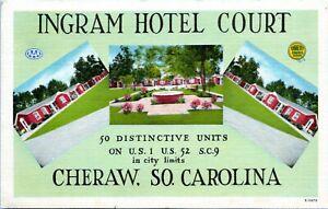 Ingram-Hotel-Court-Cheraw-SC-Roadside-Motel-Linen-1940s-Postcard